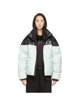 Black & Green Down Disjoin Puffer Jacket by Adidas Originals By Alexander Wang