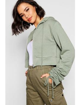 Ruched Sleeve Detail Cropped Hoody by Boohoo