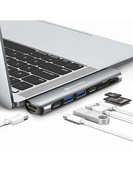 "Usb C Hub Macbook Pro,Desert West Aluminum 7 In 1 Usb Hub Adapter For Mac Book Pro 13""And 15"" 2018/2017/2016,Hub With Hdmi,Thunderbolt 3,Usb C Power Delivery,Sd/Tf Card Reader,2 Usb 3.0 Ports(Grey) by Desert West"