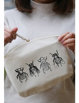 Organic Washbag In Natural With Screen Printed Insects by Smart Squid