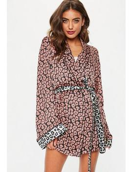 Pink Contrast Leopard Satin Dressing Gown by Missguided