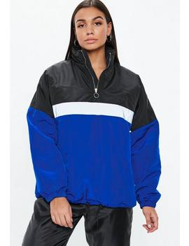 Black Colorblock Zip Front Jacket by Missguided