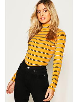 Petite Stripe Knitted Rib Turtle Neck Top by Boohoo