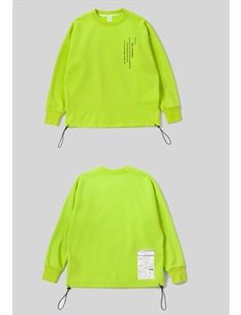 Bright Colour Drawstring  Sweatshirt   Fluorescent Green by Now Millennial
