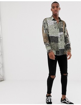 Asos Design Regular Fit Shirt In Mix & Match Print In Satin by Asos Design