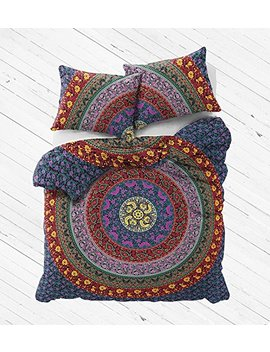 "The Boho Street Range Of Queen Size 100 Percents Cotton Duvet Cover Sets With Pillow Covers, Indian Reversible Duvet Cover Quilt Cover Coverlet Bohemian Doona Cover Handmade 82"" X 92"" by The Boho Street"