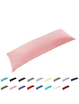 """Taoson 100 Percents Cotton 300 Thread Count Body Pillow Cover Pillowcase Pillow Protector Cushion Cover Zippers Only Cover No Insert (Pink,21""""X54"""") by Amazon"""