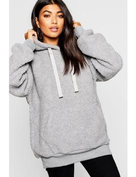 Borg Pocket Knitted Oversized Boyfriend Jumper by Boohoo