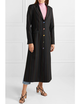 Beatrice Striped Crepe Coat by Staud