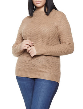 Plus Size Mock Neck Knit Sweater by Rainbow