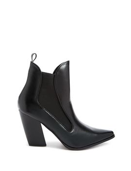 Faux Leather Pointed Ankle Booties by Forever 21