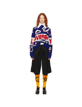 Blue & Red Wool Logo Sweater by Charles Jeffrey Loverboy