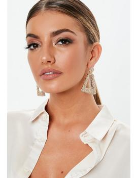 Gold Look Textured Triangle Drop Earrings by Missguided