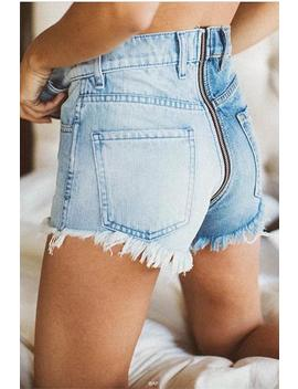 Color Patch Zipper Raw Hem Denim Shorts by Lupsona