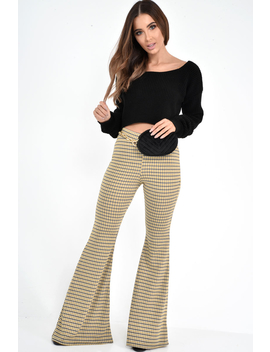 Mustard Check High Waisted Flared Trousers   Kamryn by Rebellious Fashion