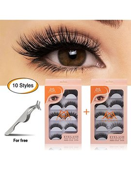 Magefy 10 Pairs Fake Eyelashes Reusable 3 D Handmade False Eyelashes Set For Natural Look With False Lashes Applicator 10 Styles by Magefy