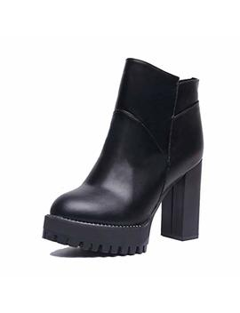 Giy Women Winter Pu Leather Ankle Boots Zip Round Toe Short Plush Platform Ladies Casual Daily Short Boots by Giy