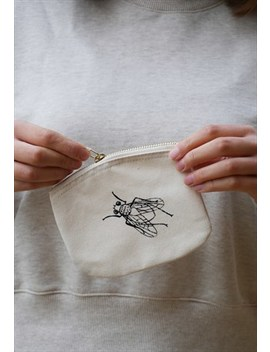 Organic Coin Purse In Natural With Screen Printed Insects by Smart Squid