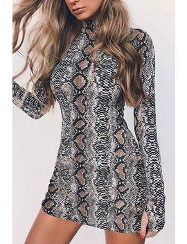 Snake Print Long Sleeve Bodycon Dress by Lupsona