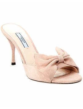 Prada Bow Suede Sandal, 38, Pink by Prada