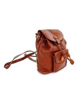 Calf Shoulder Brown Leather Backpack by Gucci