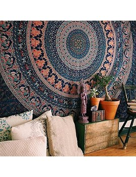Marubhumi Hippy Mandala Bohemian Tapestry, Indian Dorm Decor, Psychedelic Tapestries Wall Hanging Ethnic Decorative Tapestry (84 X 90 Inches, Neavy Blue Tarquish) by Marubhumi