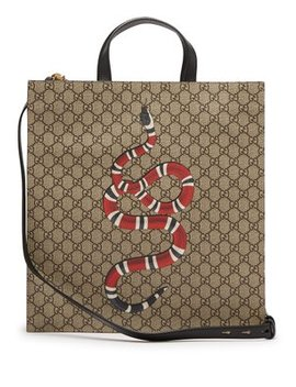 Gg Supreme And Kingsnake Print Tote Bag by Gucci