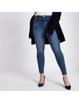 Plus Dark Blue Molly Jeggings by River Island