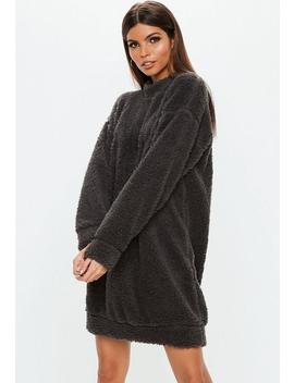 Gray Crew Neck Teddy Sweater Dress by Missguided