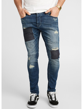 Le Jeans Usé Patchwork Coupe étroite by Only & Sons