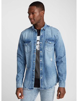La Chemise Denim Usé Coupe Semi Ajustée by Only & Sons