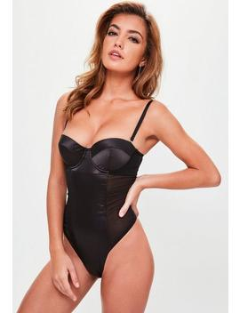 Black Satin Underwired Mesh Panel Bodysuit by Missguided