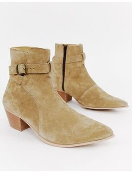 Asos Design Stacked Heel Western Chelsea Boots In Stone Suede by Asos Design
