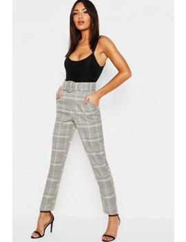 Check Belted Tailored Trouser by Boohoo