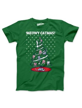 Mens Meowy Christmas Cat Tree Ugly Christmas Sweater T Shirt by Crazy Dog Funny T Shirts