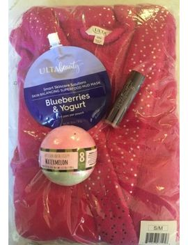 New Ulta Pink Luxury Plush Bath Robe S/M + Bonus Spa Gift Bath Bomb Mask Lipstic by Ulta