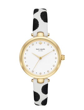 Holland Black Dot Leather Watch by Kate Spade