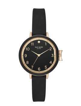 Park Row Black Silicone Watch by Kate Spade