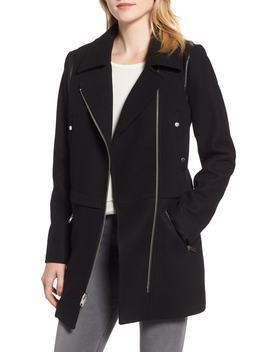 Melton Asymmetrical Zip Coat by Marc New York
