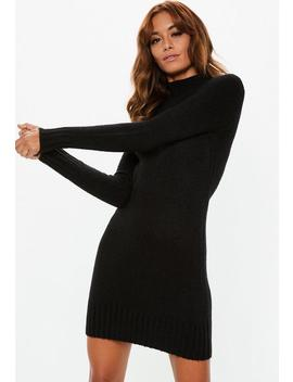 Black Fluffy High Neck Jumper Dress by Missguided
