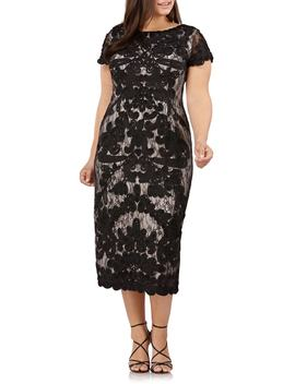 Two Tone Soutache Embroidered Midi Dress by Js Collections