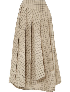 Pleated Checked Cotton Midi Skirt by A.W.A.K.E.