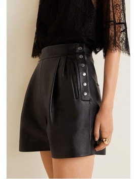 High Waist Leather Shorts by Mango