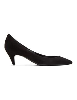 Black Suede Charlotte Heels by Saint Laurent