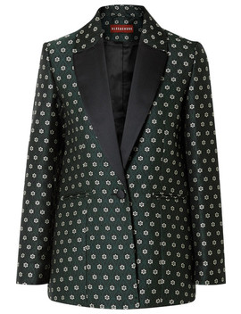 Satin Trimmed Floral Jacquard Blazer by Alexachung