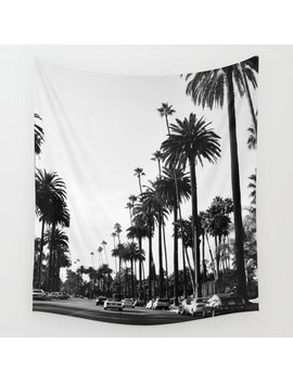 Los Angeles Black And White Wall Tapestry by