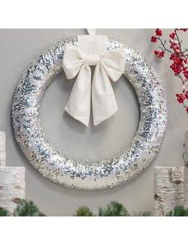 """Belham Living Glitter Christmas Wreath With White Satin Bow, 22"""" Diameter by Belham Living"""