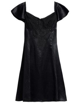 Corded Lace Paneled Satin Mini Dress by Mc Q Alexander Mc Queen