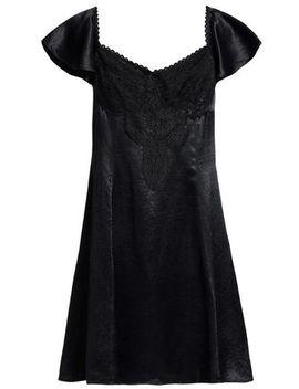 Corded Lace Paneled Satin Mini Dress by Mc Q Alexander Mc Queen