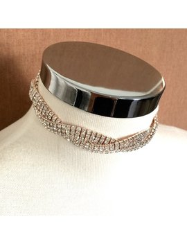 Rose Gold Twisted Crystal Choker, Rosegold Rhinestone Necklace, Choker Jewelry by Etsy